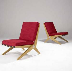 Pierre jeanneret  knoll pair of birch scissor chairs with webbed supports and red woven wool upholstery 29 12 x 20 x 27 12