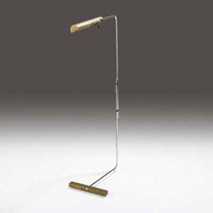 Cedric hartman brass and chrome floor lamp with adjustable shaft as shown 45 34 x 11 x 23