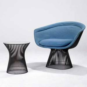 Warren platner  knoll two pieces lounge chair and matching side table with bronzefinished wire bases chair 30 x 36 x 26 table 18 x 60 dia
