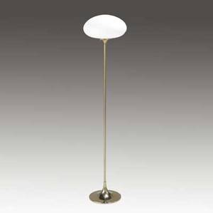 Laurel floor lamp with mushroomshaped frosted glass shade on polished brass base blue laurel paper label 56 x 14