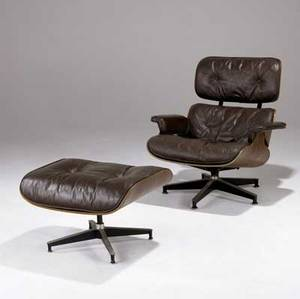 Charles eames  herman miller 670671 lounge chair and ottoman with downfilled leather cushions on rosewood plywood frames provenance baltimore museum of art herman miller circular tag chair 3