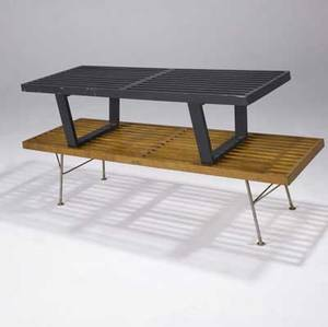 George nelson  herman miller two slatted benches one with ebonized finish the other in natural finish on metal legs 14 x 48 x 18 34 and 15 14 x 56 14 x 18 12