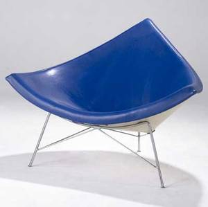George nelson  herman miller coconut chair upholstered in royal blue vinyl 32 x 41 12 x 34 12