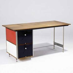 Charles eames  herman miller second series esu desk with birch top metal drawer fronts and red white blue and chartreuse panels 29 12 x 60 x 28