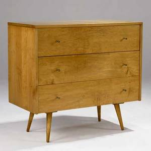 Paul mccobb threedrawer maple dresser with brass pulls 33 x 36 x 18 14