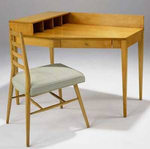 Paul mccobb singledrawer desk in maple with brass pull and ladderback chair with fabricupholstered seat desk 33 14 x 42 x 36 chair 34 12 x 17 x 22