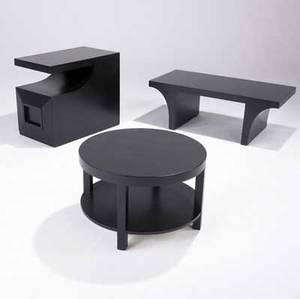 Widdicomb etc three occasional tables with ebonized finish one by widdicomb with two shelves the others in oak one with single drawer with recessed pull widdicomb table marked 24 14 x 16 12