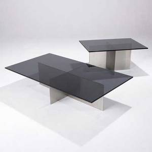 Paul mayen  habitat two low tables with dark bronze glass tops resting on brushed stainless steel bases 12 12 x 54 x 30 and 16 12 x 34 x 24