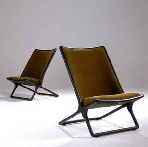 Ward bennett pair of lounge chairs upholstered in mohair on ebonized oak frames brickel associates inc paper label 33 12 x 24 x 28