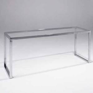 Milo baughman console table with glass top and polished chrome base 27 14 x 60 x 19