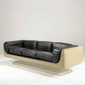 Steelcase threeseat sofa upholstered in black leather with fiberglass shell on lucite base steelcase label 25 x 81 12 x 33 12