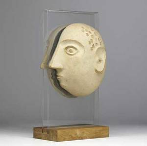 David gil ceramic split head sculpture with impressed numerals on skull mounted on a lucite and wood base marks to interior 19 14 x 8 14 x 9 12