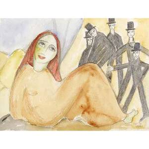 Beatrice wood untitled watercolor graphite and colored pencil on paper 1991 framed signed and dated 12 x 15 34 sight