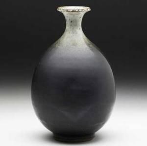 Peter voulkos stoneware bottleform vase covered in graded brownblack glazes signed voulkos f 8 12 x 5 12 dia