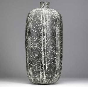 Claude conover large stoneware vessel yibal with impressed pattern and incised lines on a mottled black and white ground complete with original plastic insert 25 12 x 10 12 dia