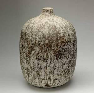 Claude conover large foursided stoneware bottle with impressed patterns tukub signed and titled 22 12 x 12