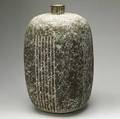 Claude conover large stoneware vase with incised patterns sapat signed and titled 21 14 x 15 12