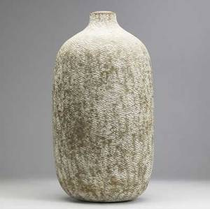 Claude conover large stoneware vessel calab with overall impressed pattern and original plastic insert signed and titled 20 12 x 9 12 dia