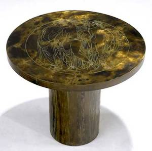 Philip  kelvin laverne occasional table with bronze and verdigris patination the circular top incised with three classical nudes on pedestal base signed philip kelvin laverne 16 x 19 dia