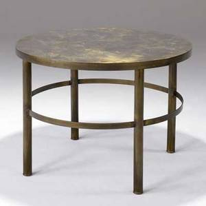 Philip laverne side table with mottled and patinated metal finish philip laverne collection paper label 22 34 x 30 14 dia