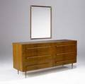 Th robsjohngibbings  widdicomb sixdrawer mahogany dresser with brass and canewrapped pulls on tapering solid brass legs en suite with brass and canewrapped mirror dresser has widdicomb fabric