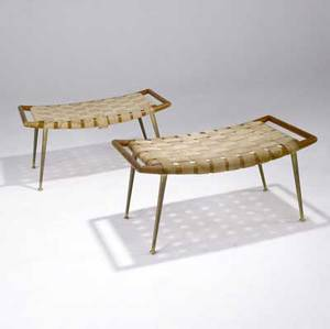 Th robsjohngibbings  widdicomb pair of curved ottomansbenches with webbed seat support on brass legs one marked with widdicomb fabric label 17 12 x 35 34 x 19 14