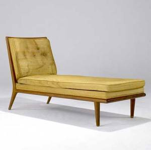 Th robsjohngibbings  widdicomb chaise lounge with original gold boucle upholstery on walnut frame widdicomb fabric label 33 14 x 25 12 x 56