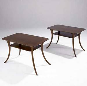 Th robsjohngibbings widdicomb pair of twotier klismosstyle sofa tables in walnut widdicomb decals and stenciled numbers 20 x 32 x 18