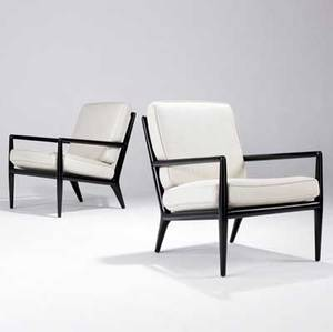 Th robsjohngibbings  widdicomb pair of spindleback lounge chairs with ebonized finish and ecru fabricupholstered cushions 31 12 x 24 12 x 26