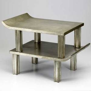 James mont pair of asianinspired small tables with silverleaf finish each 8 14 x 18 12 x 13