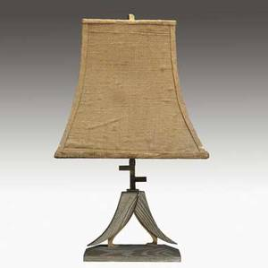 James mont table lamp in limed oak and brass with two stylized birds topped by a flaired burlap covered shade 23 14 x 14 12 x 9 12