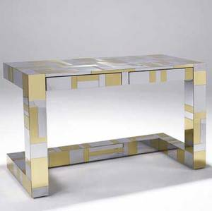 Paul evans cityscape twodrawer desk with chrome and brass patchwork covering on cantilevered base paul evans script signature 29 12 x 48 x 20 12