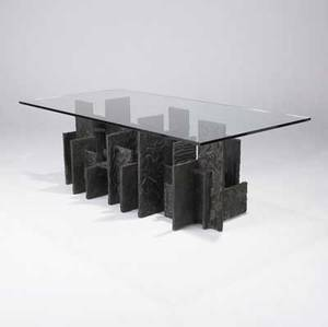 Paul evans sculpted bronze dining table with plate glass top its base consisting of horizontal and vertical flat planes 1971 signed pe 71 29 12 x 96 x 48