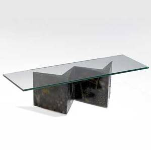 Paul evans coffee table with plate glass top over welded patinated steel base 17 x 60 x 20 top 34