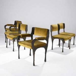 Paul evans set of six sculpted bronze dining chairs two arm and four side with original ochre velvet upholstery paul evans inc paper labels armchairs 32 14 x 27 14 x 21 14 side chairs