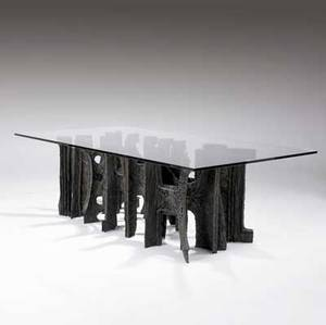 Paul evans sculpted bronze customdesigned dining table with rectangular plate glass top 1971 the only one of its kind weve ever seen signed pe 71 29 14 x 95 12 x 48