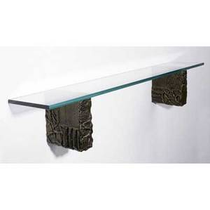 Paul evans wallhung shelf with two sculpted bronze supports and rectangular plate glass top 11 14 x 60 x 12