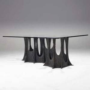 Paul evans sculpted bronze dining table with clipcorner rectangular plate glass top on serpentine base 1973 signed pe 73 28 34 x 82 34 x 47