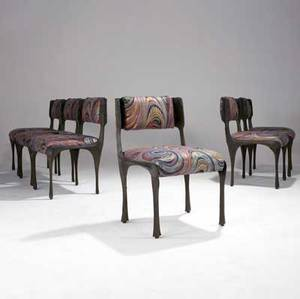 Paul evans set of six sculpted bronze dining side chairs with multicolored printed fabric upholstery 32 x 21 x 19