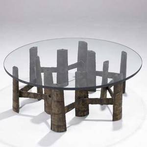 Paul evans coffee table with circular plate glass top and welded steel base 14 12 x 42 dia