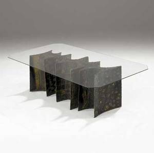 Paul evans welded and patinated steel coffee table with clipcorner plate glass top and scalloped base decorated with alternating motif of circles and panels 15 12 48 x 25 12