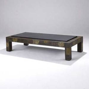 Paul evans coffee table with slate top and copper bronze and pewter patchwork 16 14 x 68 x 32 14