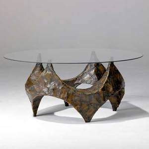 Paul evans unusual coffee table with glass top over sculptural patchwork bronze base base 18 34 x 26 with glass 42