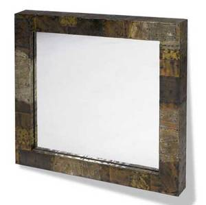 Paul evans square wallhung mirror with copper bronze and pewter patchwork 30 x 30 x 3 14