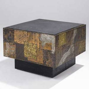 Paul evans cube table with slate top and copper bronze and pewter patchwork on hidden casters 23 12 x 29 12 sq