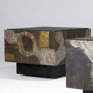Paul evans cube table with slate top and copper bronze and pewter patchwork on hidden casters 23 x 30 sq