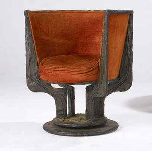 Paul evans sculpted bronze barrel chair with original orange upholstery and swivel base 33 x 29 12 x 27