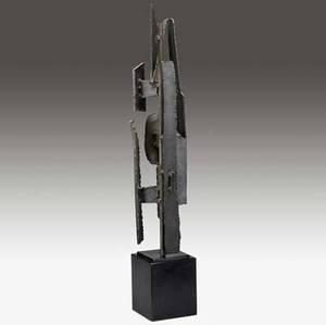 Harry balmer  flemington iron works welded oxidized steel table lamp on black enameled base 31 x 5 x 5