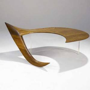 Michael coffey fine pegasus coffee table in sculpted and laminated walnut with plexiglass support carved m coffey 17 x 55 x 35 34