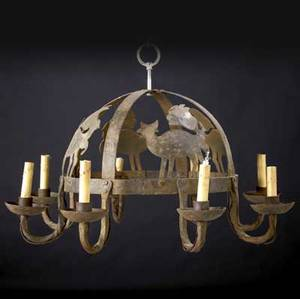Morgan colt iron eightsocket candlelight chandelier with cutout figures 19 x 27 34 dia